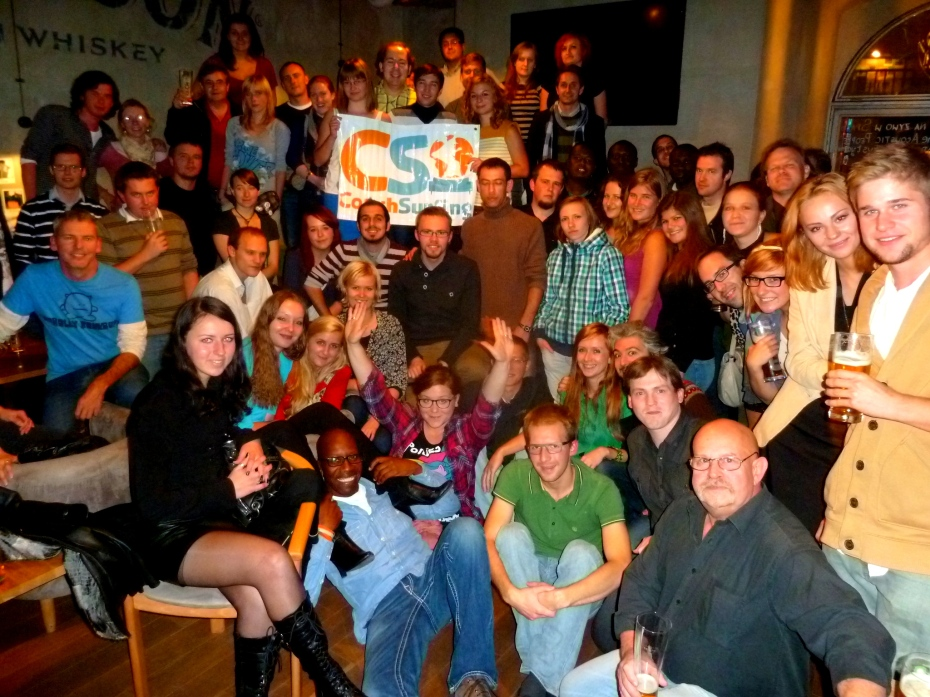 One of many social events around the world I organized as a Couchsurfing traveling ambassador. This one, attended by hundreds of couchsurfers, was in Krakow, Poland.