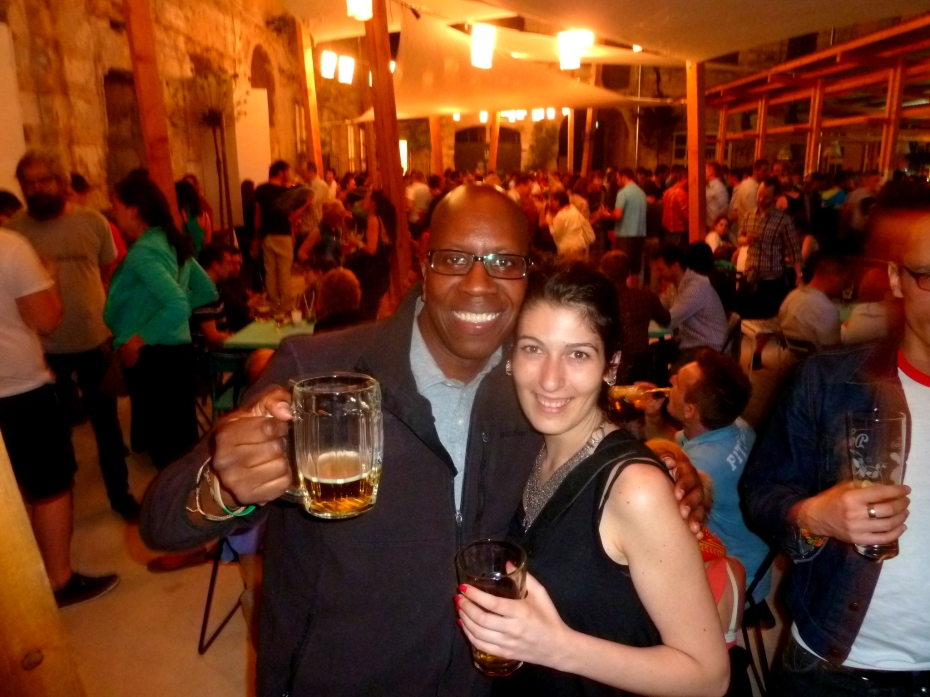 Opening night of bar in ruins of vacant building in Budapest. With Irene of Milan, Italy.