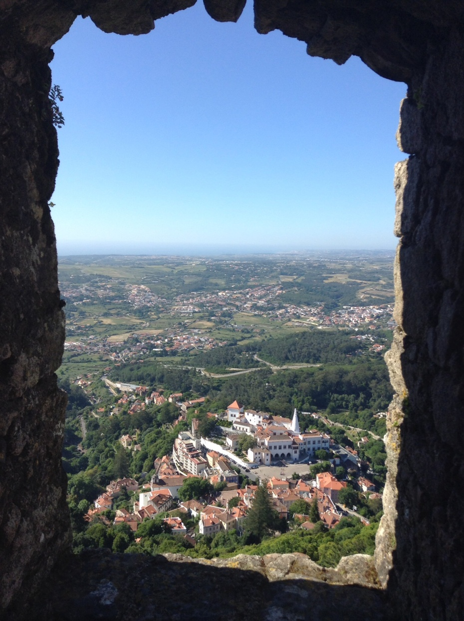 Below, Sintra seen from the Moorish Castle. Quite a climb to get here, but buses deliver those who choose not to walk.